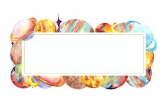 Free Colorful Rectangular Frame With The Planets Of The Solar System, The Moon And Stars On A White Background With Space For Text. Wat Stock Photo - 178819870