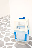 Colorful of recycle bin on white wall Stock Image