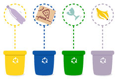 Colorful recycle bins Stock Photo