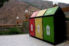 Colorful Recycle Bins. At Thimpu, Bhutan stock image
