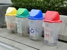 Colorful Recycle Bins For Collection Of Recycle Materials. BANGKOK, THAILAND- JUNE 17, 2019 : Colorful Recycle Bins For Collection Of Recycle Materials in stock photography