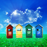 Colorful recycle bins ecology concept Stock Photography