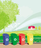 Colorful recycle bins ecology concept with landscape Royalty Free Stock Photography