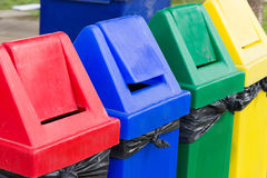Colorful of recycle bins Stock Photo