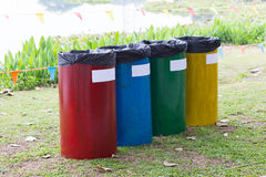 Colorful of recycle bins Stock Image