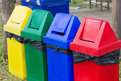 Colorful of recycle bins Stock Photos