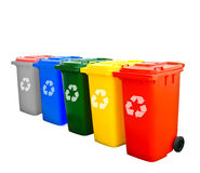 Colorful Recycle Bins Isolated Royalty Free Stock Images
