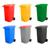 Colorful Recycle Bins Isolated Royalty Free Stock Photography