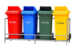 Colorful Recycle Bins Isolated Stock Photo