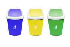 Colorful Recycle Bins Isolated Over White Background. Stock Photo