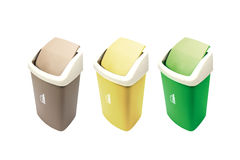 Colorful Recycle Bins. Isolated Over White Background Stock Photos