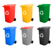 Colorful Recycle Bins Isolated With Recycle Sign Stock Images