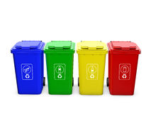 Colorful recycle bins isolated. On white background Royalty Free Stock Photo