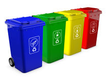 Colorful recycle bins isolated Royalty Free Stock Image