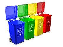 Colorful recycle bins isolated Stock Photography