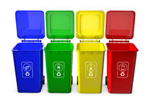 Colorful recycle bins isolated. On white background Stock Photos