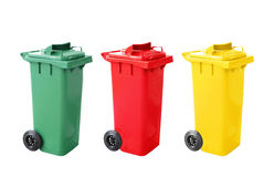 Colorful Recycle Bins Isolated on white Royalty Free Stock Photos