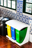 Colorful Recycle Bins on the kitchen Royalty Free Stock Photo