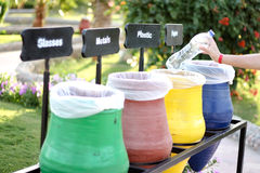 Colorful Recycle Bins. And nature Stock Photography