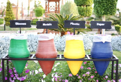 Colorful Recycle Bins. And nature Stock Photos