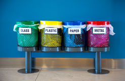 Colorful Recycle Bins in a Public place Royalty Free Stock Photography