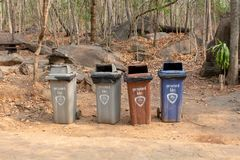 Colorful recycle bins in Thailand royalty free stock image