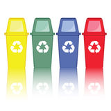 Colorful recycle bins vector. On  white background Stock Image