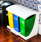 Colorful Recycle Cans On The Kitchen, Stock Images