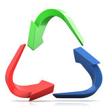 Colorful recycle sign, three arrows. On white background Stock Photos