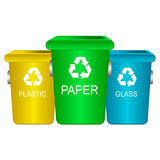 Colorful trash containers recycling waste sorting. Colorful recycle trash bins isolated white, vector. Big containers for recycling waste sorting plastic, glass Royalty Free Stock Photos
