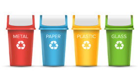 Colorful Recycle Trash Bins Vector. Set Of Realistic Red, Green, Blue, Yellow Container Buckets.  On White Stock Photo
