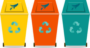 Colorful recycle trash or rubbish bins. Flat icon,silhouette Stock Photography