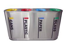 Colorful Recycling Bin. For cans, plastic, paper and glass Royalty Free Stock Photography