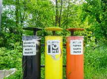Colorful Recycling Bins Stock Photo