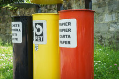 Colorful Recycling Bins. Three bins for waste separation Stock Images