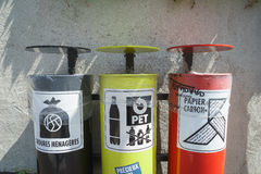 Colorful Recycling Bins Stock Photography