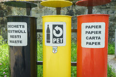 Colorful Recycling Bins Royalty Free Stock Photo
