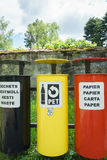 Colorful Recycling Bins. Three bins for waste separation Royalty Free Stock Photography