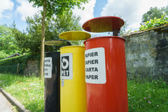 Colorful Recycling Bins. Three bins for waste separation Stock Photography