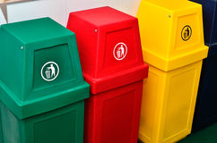 Colorful recycling bins or trashcan Royalty Free Stock Image