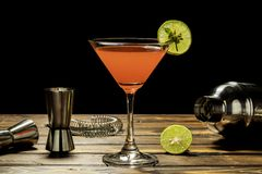 Colorful of red alcohol cocktail recipe stock photo