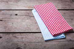 Colorful red and  blue checkered  kitchen towels Stock Photo