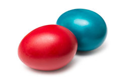 Colorful Red And Blue Easter Eggs Stock Image