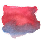 Colorful red-blue watercolor stain with aquarelle paint blotch Stock Photos