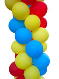 Colorful red blue yellow balloons isolated over white Stock Photo