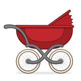 Colorful red buggy or baby carriage Stock Images