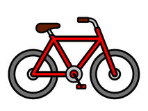 Colorful red cartoon bicycle outline drawing Stock Photos