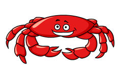 Colorful red cartoon crab. Colorful red marine cartoon crab with a smiling face and big claws for seafood design, isolated on white Stock Image