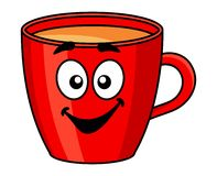 Colorful red cartoon mug of coffee Royalty Free Stock Photography