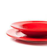 Colorful red ceramics plates Royalty Free Stock Photo